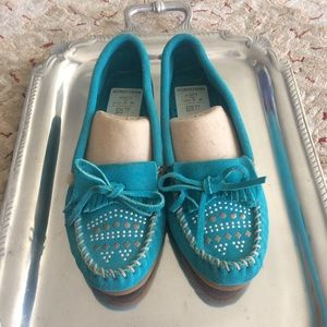 Minnetonka Turquoise Suede Moccasins 9 M Flats